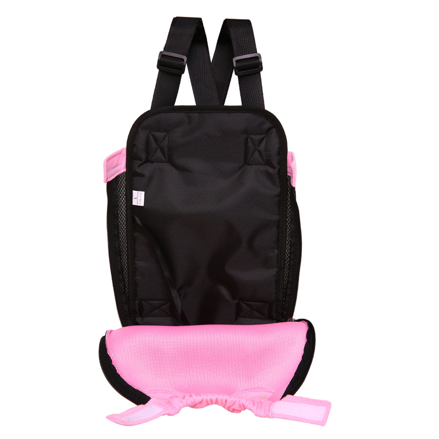 inside of Qbleev Mesh Dog Backpack Carrier Pink