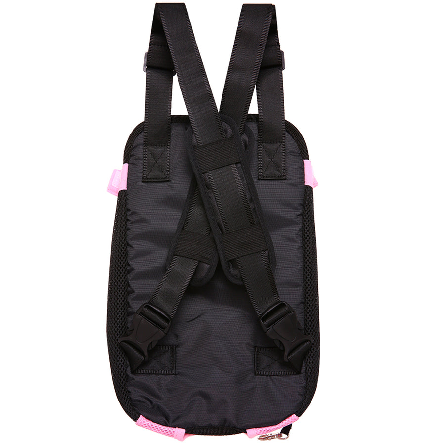 front side of Qbleev Mesh Dog Backpack Carrier Pink
