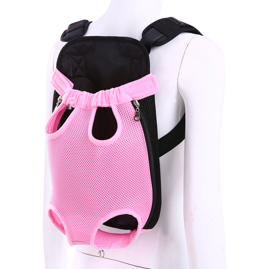 Qbleev Mesh Dog Backpack Carrier Pink carried on the back
