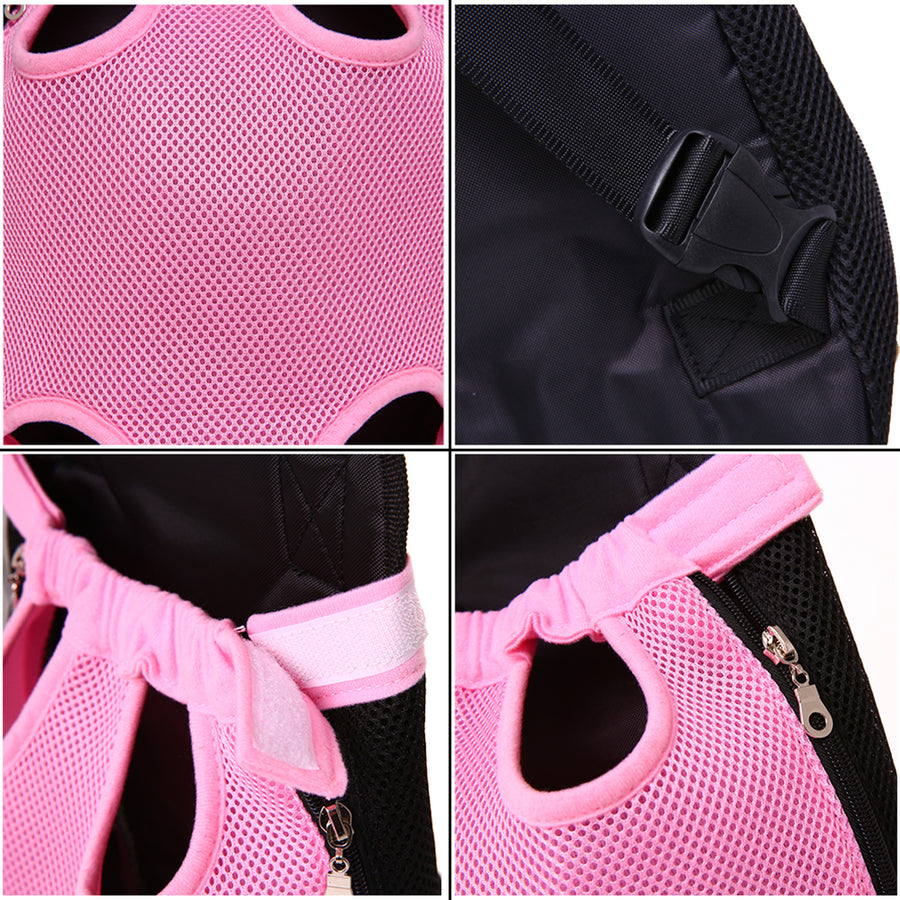 design of Qbleev Mesh Dog Backpack Carrier Pink