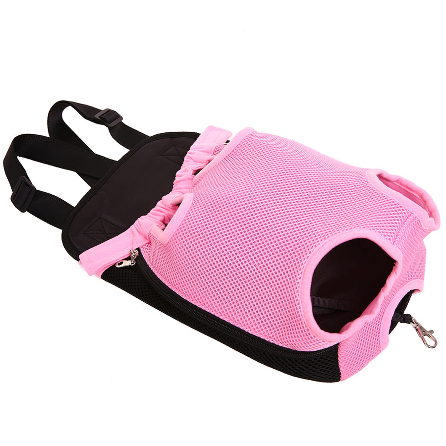 back side of Qbleev Mesh Dog Backpack Carrier Pink