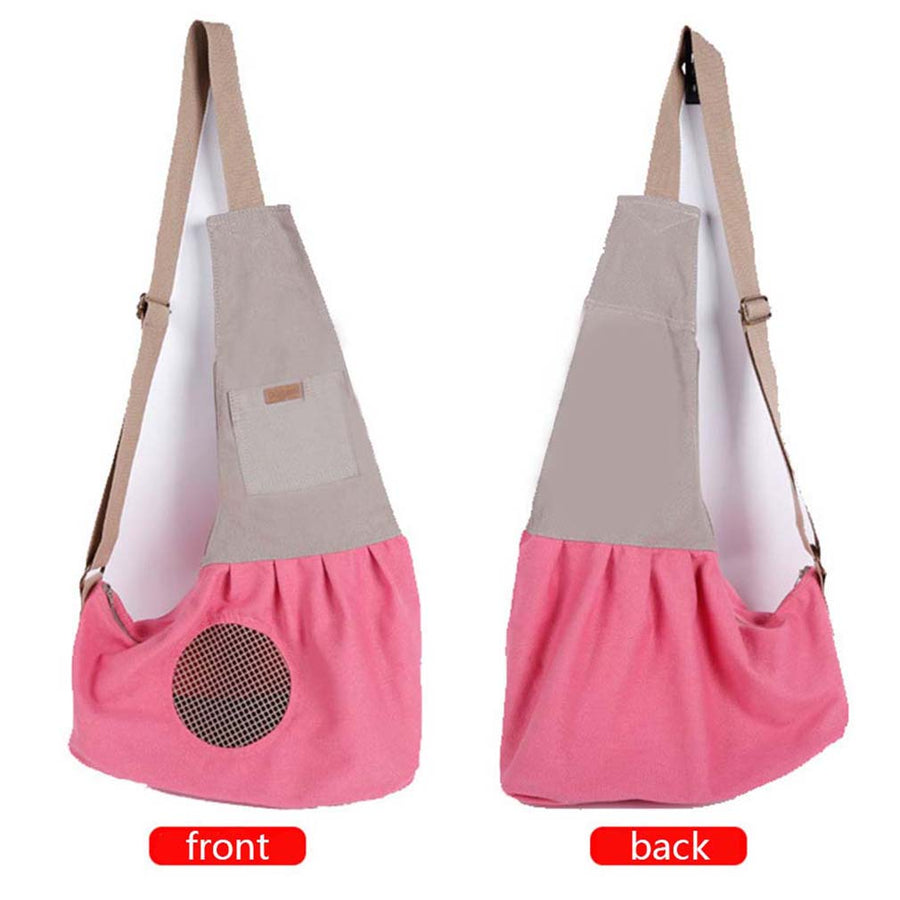 left and right sides of Qbleev adjustable dog sling pink with pockets and ventilation mesh