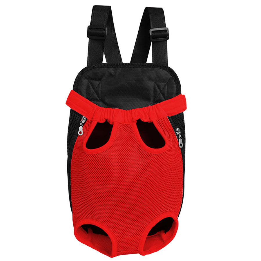 Qbleev Mesh Dog Backpack Carrier Red