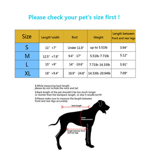 size chart of Qbleev Mesh Dog Backpack Carrier