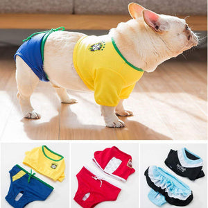 Cute Bikini Dog Dresses yellow red and blue Qbleev