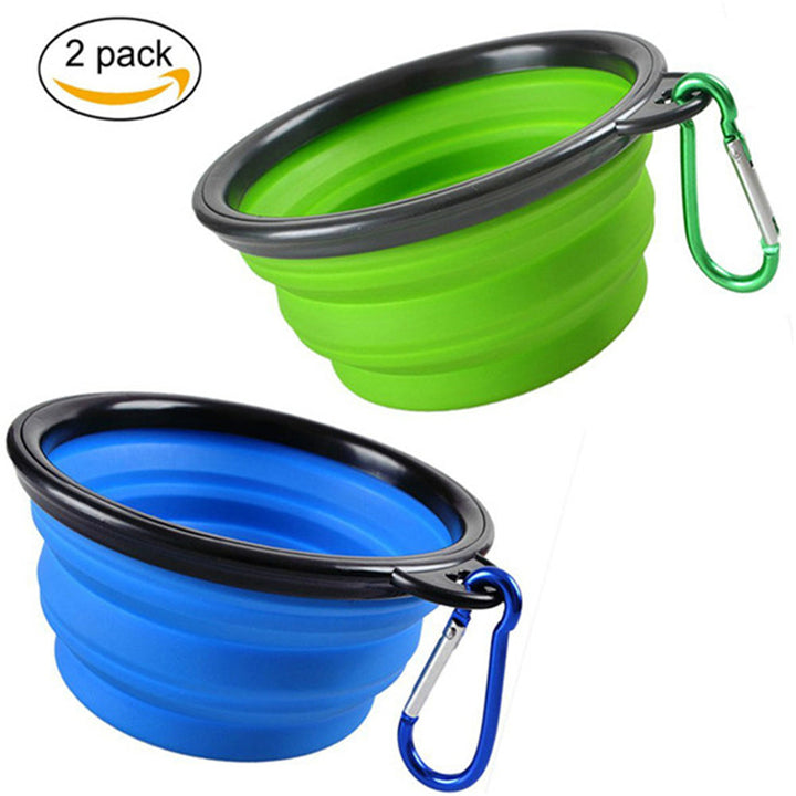 2 pcs Collapsible Dog Bowl Qbleev