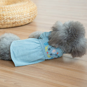 back of Denim Dog Dress Puffed Sleeves QBLEEV