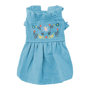 Denim Dog Dress Puffed Sleeves