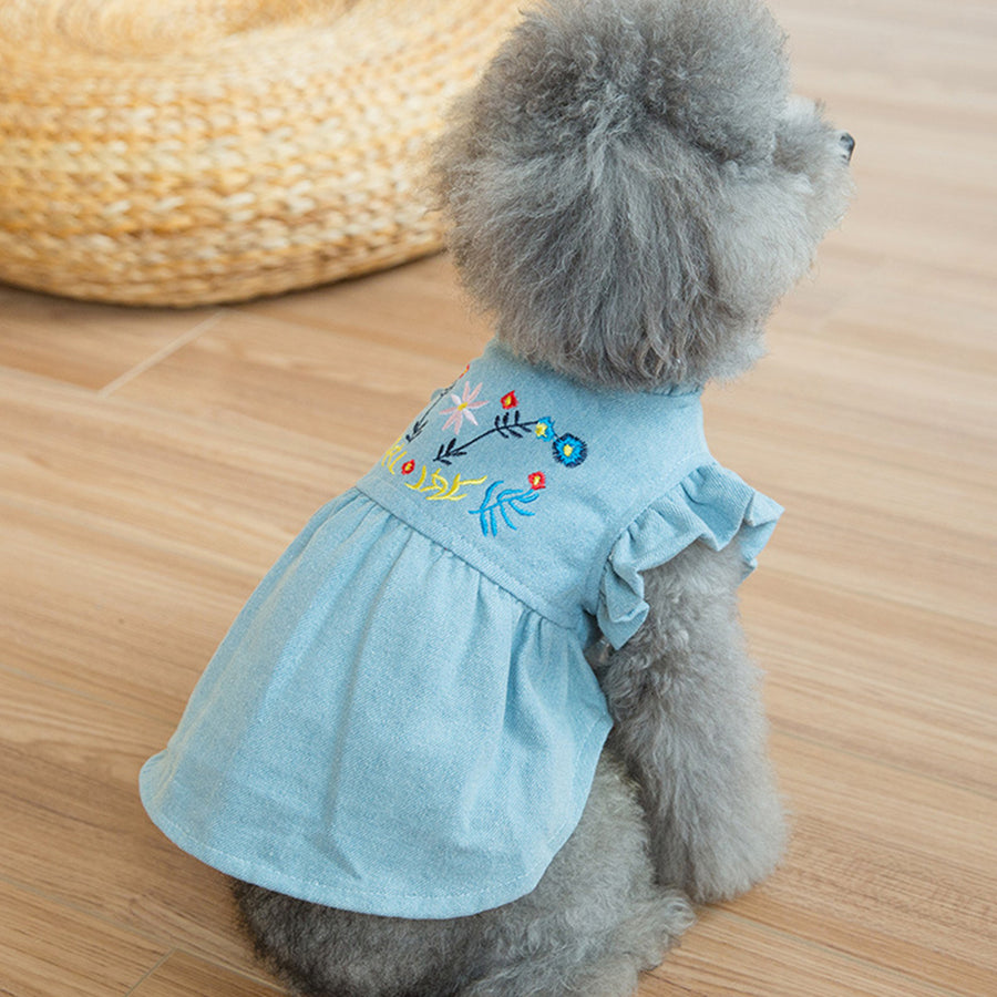 Denim Dog Dress Puffed Sleeves QBLEEV