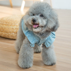 front of Denim Dog Dress Puffed Sleeves QBLEEV