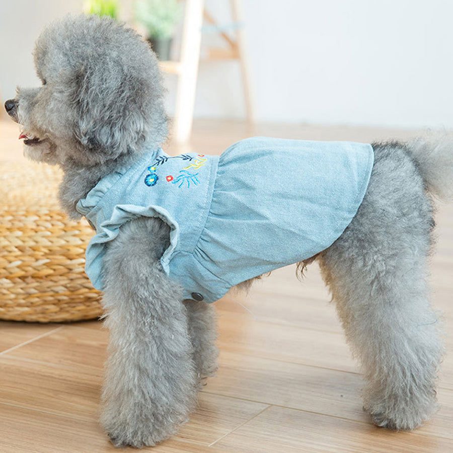 left side of Denim Dog Dress Puffed Sleeves QBLEEV