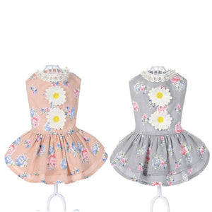 Sun Flower Dog Dress Pink & Grey QBLEEV