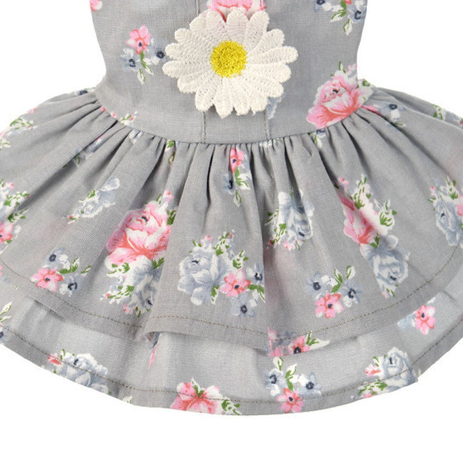 Sun Flower Dog Dress Grey QBLEEV