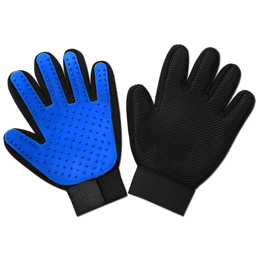 The front and back of a pair of dog grooming glove blue