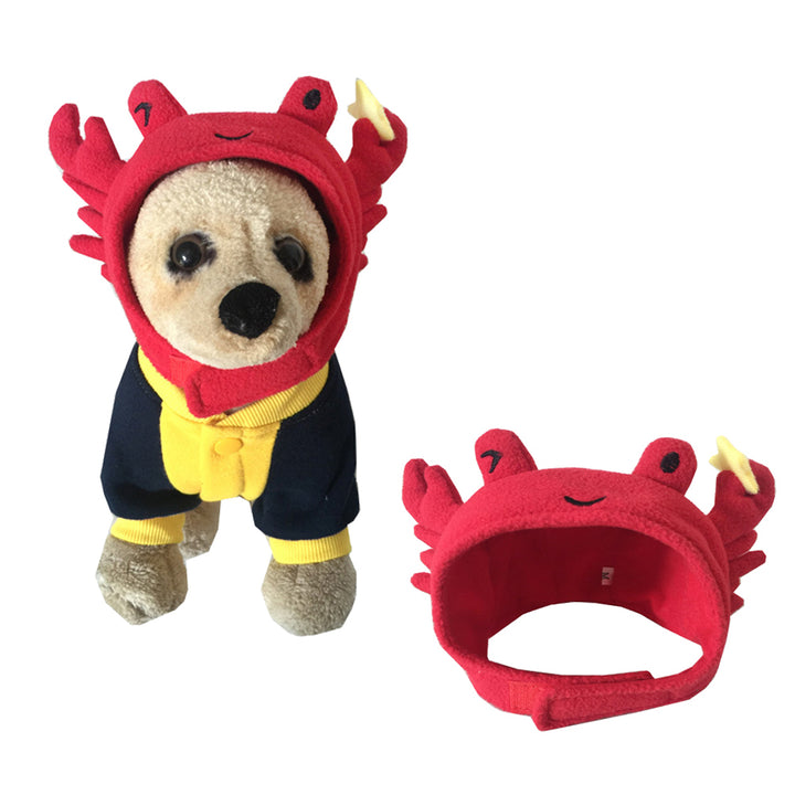 Pet Halloween Crab Shape Dog Costume Cap Lovely Hat For Cat and Dog