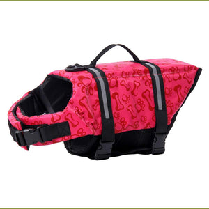 Dog Life Vest Reflective With Adjustable Belt in pink bone