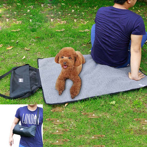 reversible dog mat green QBLEEV with a dog and dog owner on