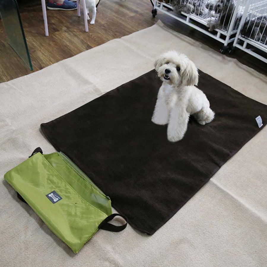 reversible dog mat green QBLEEV with a dog lying on