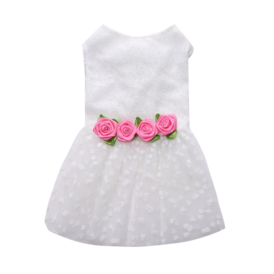 Sweetie Ribbon Dog Dress Pink Rose QBLEEV