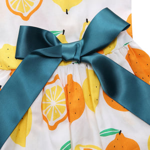 bow on the back of Floral Dog Dress Lemon Printed QBLEEV