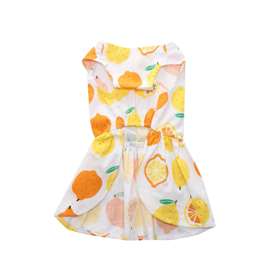 Front of Floral Dog Dress Lemon Printed QBLEEV