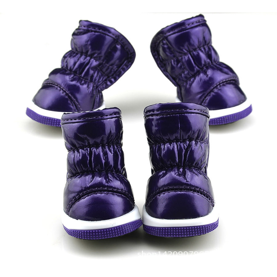 QBLEEV Dog Winter Boots purple