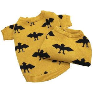 Pet Dog Halloween Black Bat Print Sweater Puppy Lovely Animal Costume In Winter Yellow Sweater