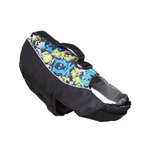 Dog Life Jacket With Adjustable Belt & Rubber Handle in black skull design