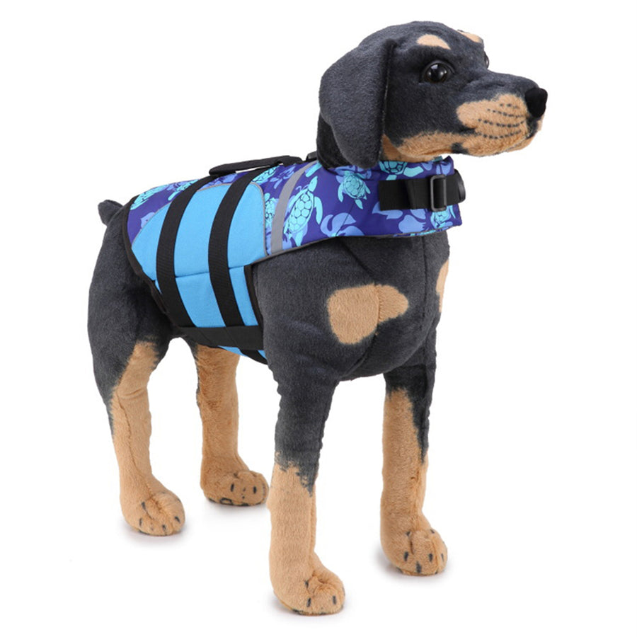 right side of Dog wearing Qbleev Dog Life Jacket With Adjustable Belt & Rubber Handle