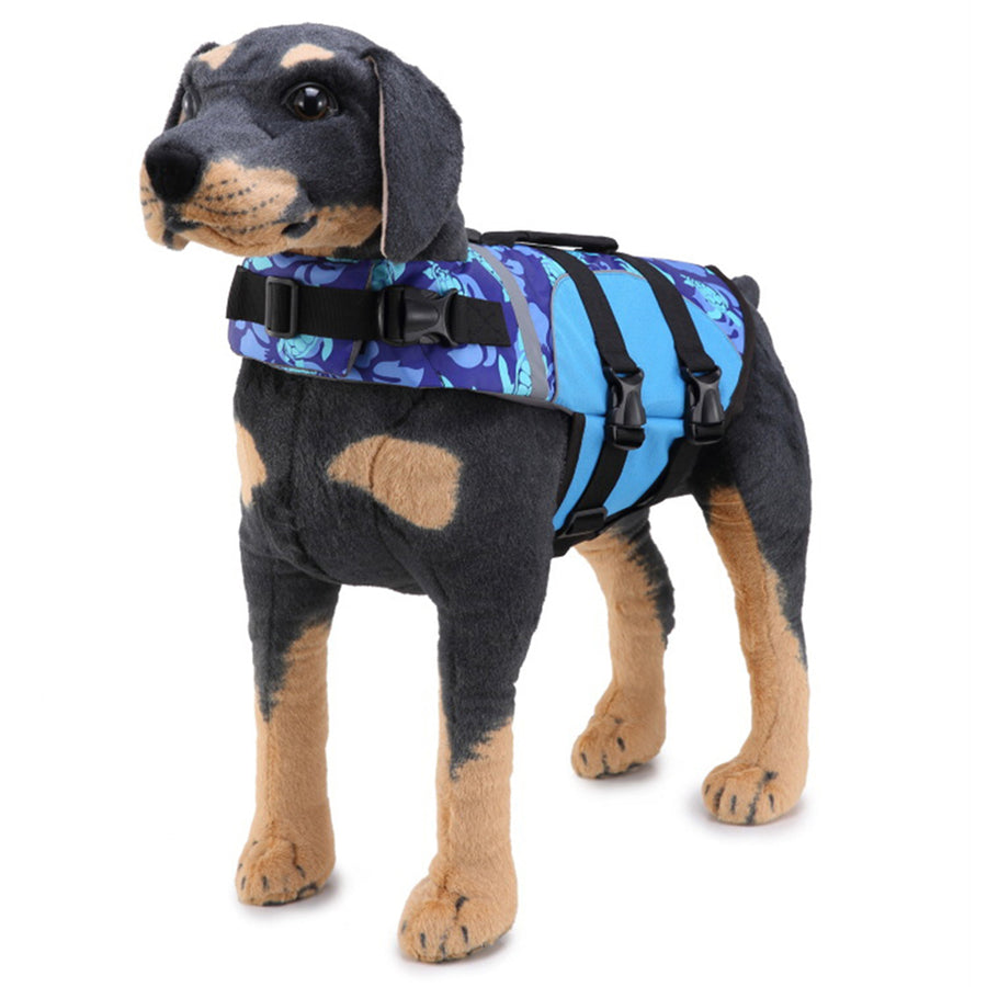 front side of Dog wearing Qbleev Dog Life Jacket With Adjustable Belt & Rubber Handle