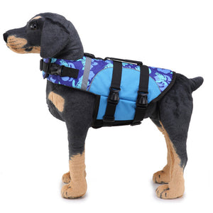 left side of Dog wearing Qbleev Dog Life Jacket With Adjustable Belt & Rubber Handle