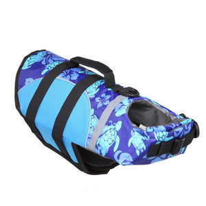 Dog Life Jacket With Adjustable Belt & Rubber Handle in blue turtle design