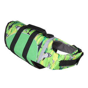 Dog Life Jacket With Adjustable Belt & Rubber Handle in green dolphin design