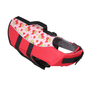Dog Life Jacket With Adjustable Belt & Rubber Handle in red strawberry design