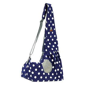 Qbleev wide strapped dog sling blue with wave points and ventilation mesh