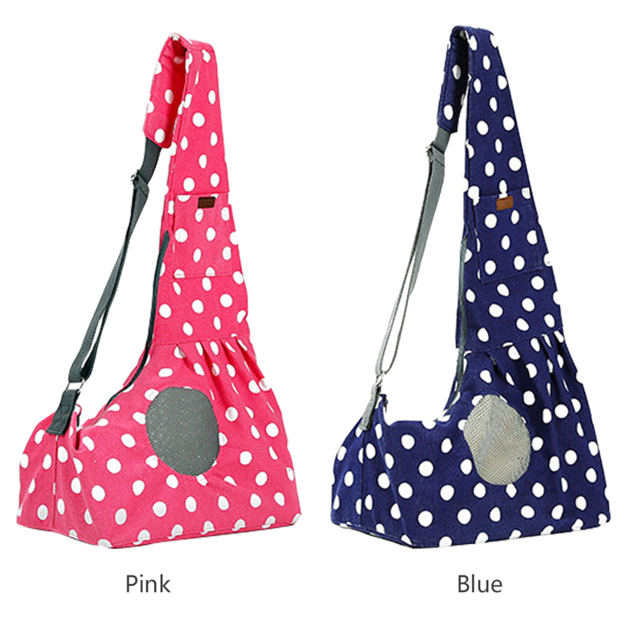 two Qbleev wide strapped dog slings with wave points and ventilation mesh in blue and pink color