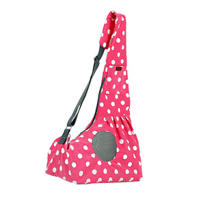 Qbleev wide strapped dog sling pink with wave points and ventilation mesh