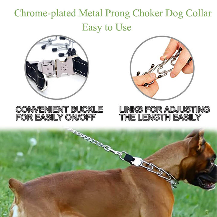 Qbleev Chrome-plated Metal Prong Choker Dog Collar