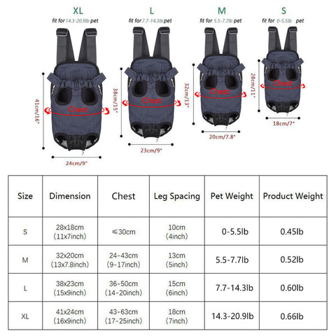 Size chart of Qbleev Denim Dog Backpack Carrier Black Suitable for The Front Pack
