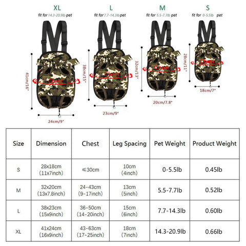 Size chart of Qbleev Dog Backpack Carrier Camouflage