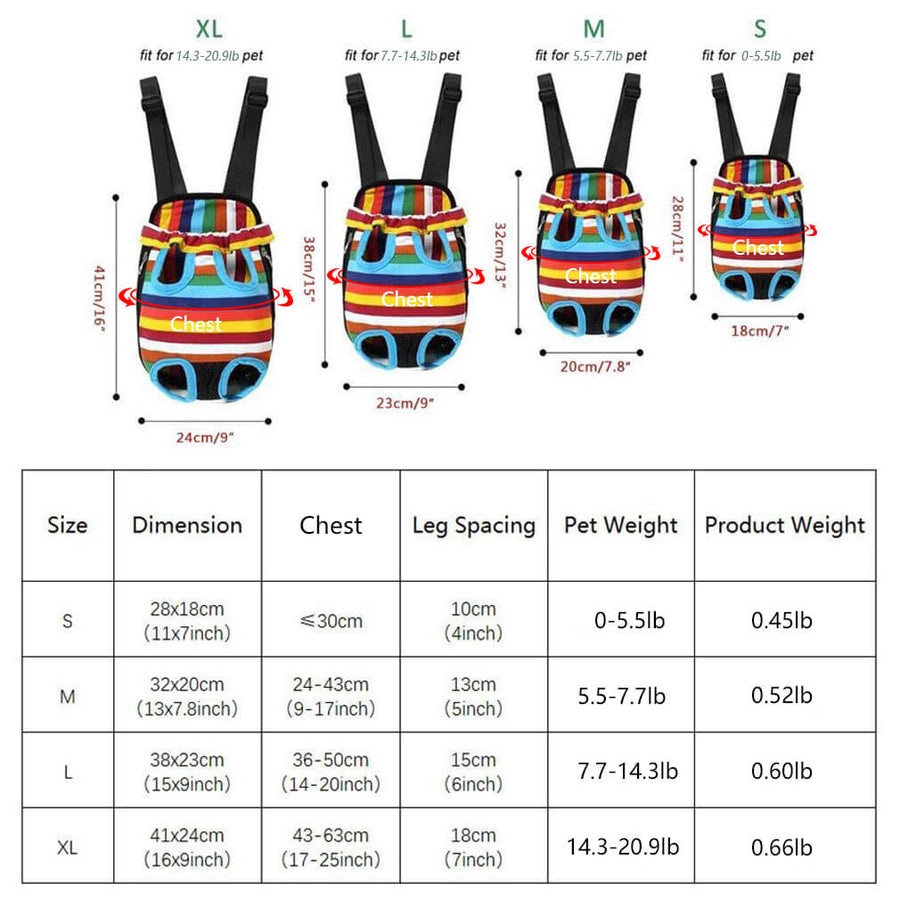 Size chart of Qbleev Dog Backpack Carrier Rainbow