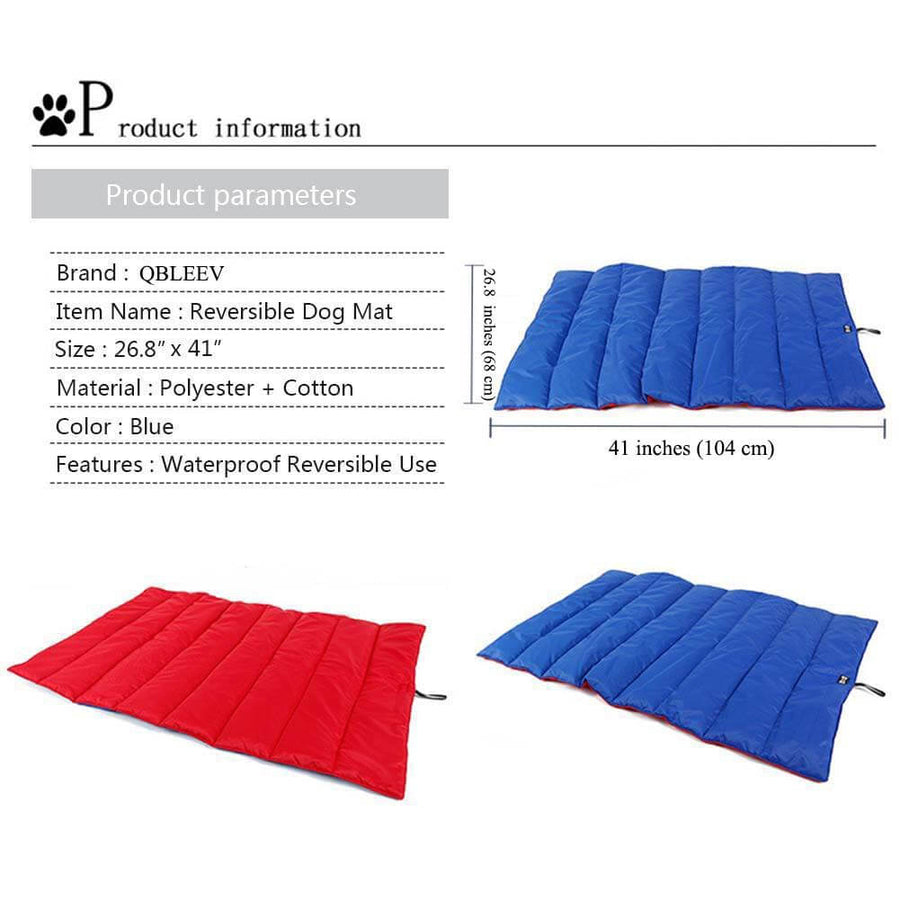 size of two-tone dog mat reversible QBLEEV