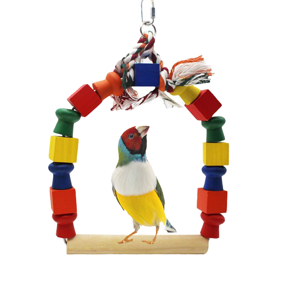 Good 2019 Natural Wooden Parrots Swing Toy Birds Perch Hanging Swings Cage With Beads Bells Toys Bird Supplies Durable In Use Bird Toys Home & Garden