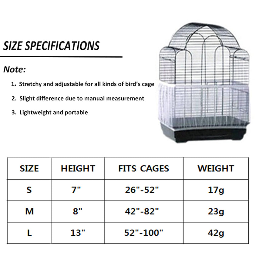 Bird cage covers sizes