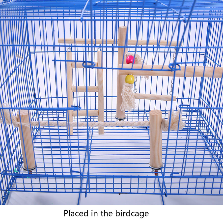 Toy ladder placed in the birdcage