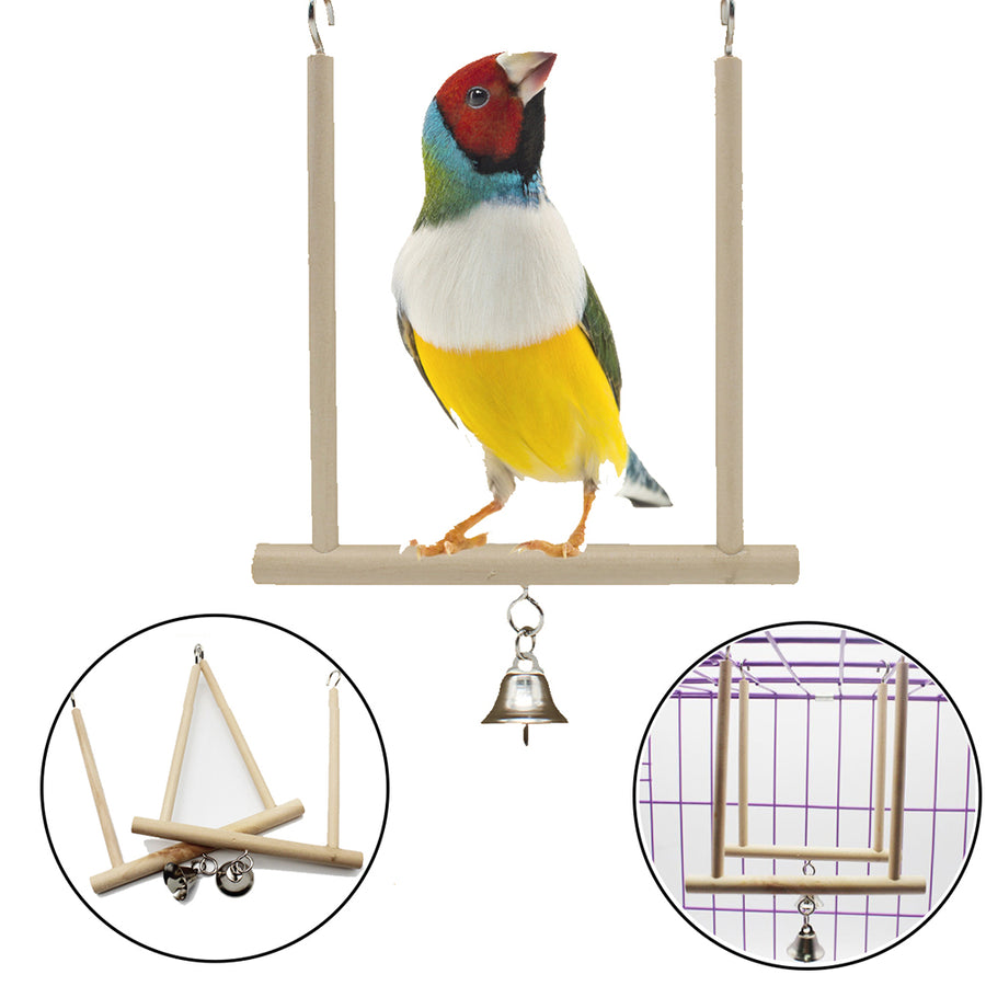 Wooden Bird Stand With Bell