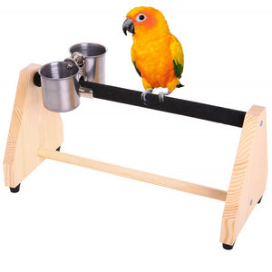 QBLEEV-Portable Parrot Table Playstand Bird Perch with Feeder Cup
