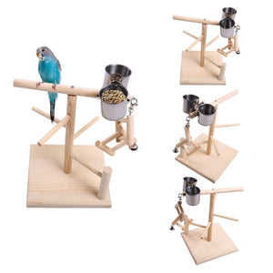 QBLEEV Parrot Playstand with Feeder Cups