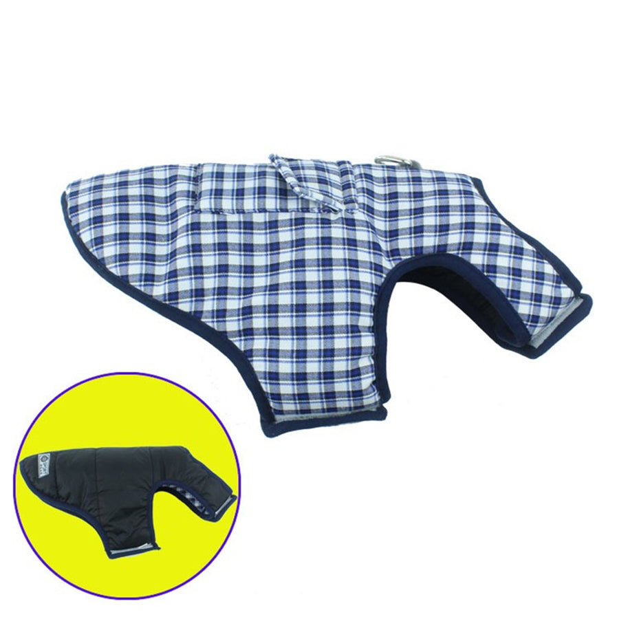 Cozy Waterproof Windproof Plaid Dog Vest Winter Coat Warm Dog Apparel For Cold Weather
