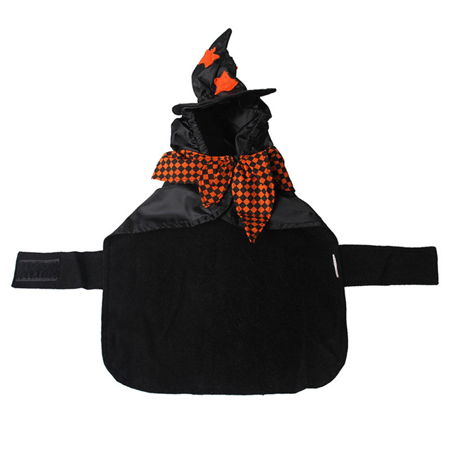 Cat Halloween Cloak Plaid Pattern Pet Cape with Witch/Wizard Hat